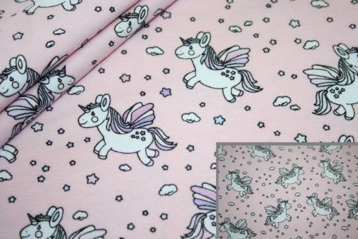 renee-d.de Onlineshop: Jersey Stoff Magic Light einhorn