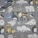 Stenzo Jersey Stoff grau meliert Wintertiere