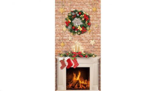 renee-d.de Onlineshop: Fester Deko Stoff Canvas Weihnachtsbaum Kamin