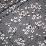 Dünner weicher Modal French Terry Sweatshirt Stoff grau Blumen