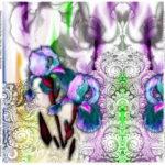 Stenzo Jersey Stoff Digitaldruck Panel Buntes Muster Blumen weiß bunt