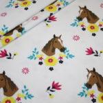 Jersey Stoff weiß Pferde Pferdeliebe Pony