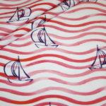 Hilco Jersey Stoff Maritim Boote Schiffe pink