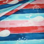 Hilco Jersey Stoff Maritim große Wal Wale blau pink