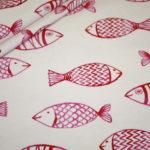 Hilco Jersey Stoff Maritim große Fische pink