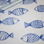 Hilco Jersey Stoff Maritim große Fische blau