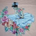 Stenzo Jersey Stoff Digitaldruck Panel Ballerina rosa