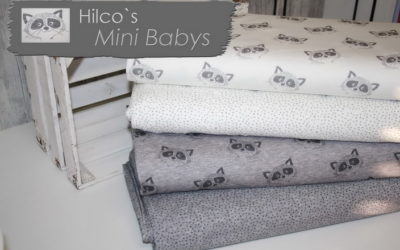 Mini Baby Waschbären Jersey Stoffe von Hilco!