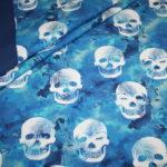 Hilco Jersey Stoff by Jatiju Smiling Sculls Totenkopf blau türkis Bordüre als Bündchen
