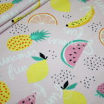 Hilco Jersey Stoff Summer Fun Obst Ananas rosa