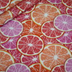 Hilco Jersey Stoff Summer Fun Obst Orange rot rosa