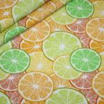 Hilco Jersey Stoff Summer Fun Obst Orange Zitrone gelb grün