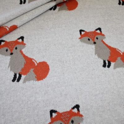 renee-d.de Swafing Jacquard Strick Jersey Stoff grau Fuchs