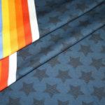 Hilco Jersey Stoff by Jatiju Stars and Stripes blau Sterne Bordüre als Bündchen
