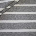 Hilco Dünner Viskose Jersey Stoff grau weiß gestreift