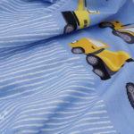 Hilco Jersey Stoff by Jatiju Roadworks Bagger Laster blau gelb Bordüre zum applizieren