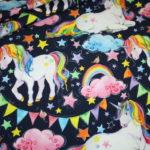 Jersey Stoff Einhorn Einhörner Unicorn Rainbow blau