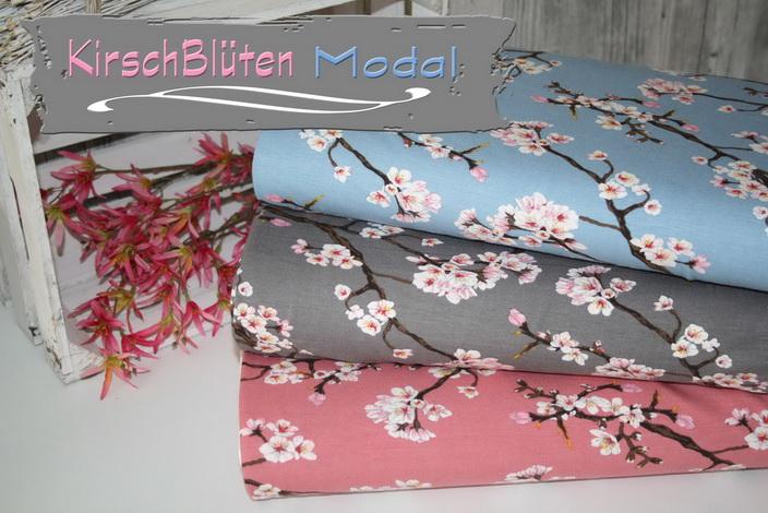 Kirschblüten auf Modal Jersey