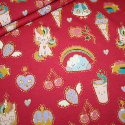 Artikel aus dem renee-d.de Onlineshop: Sweatshirt Stoff French Terry Einhorn Candy Dream