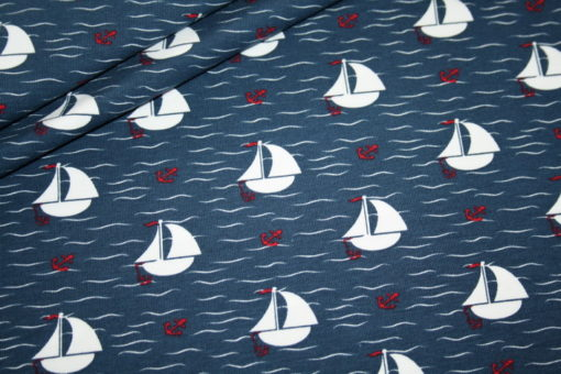 Artikel aus dem renee-d.de Onlineshop: Jersey Stoff Boote Maritim
