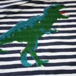 Streich Pailette Jersey Stoff Panel Dinosaurier