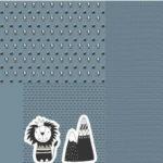 Stenzo Jersey Stoff Panel Digitaldruck Löwe Kissen blau grau
