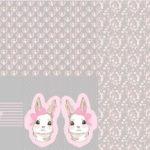 Stenzo Jersey Stoff Panel Digitaldruck Hase Häschen Kissen grau