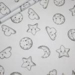 Stenzo Jersey Stoff Digitaldruck Baumwolle Sonne Mond Sterne weiß