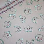 Stenzo Jersey Stoff Digitaldruck Baumwolle Sonne Mond Sterne rosa