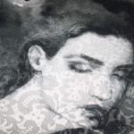 Stenzo Jersey Stoff Panel Digitaldruck Frau mit Spitze