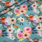 Stenzo French Terry dünner Sweatshirt Stoff petrol Blumen