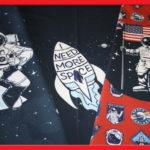 Stenzo Dünner French Terry Jersey Stoff Panel Astronaut Rakete Mann auf dem Mond