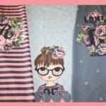 Stenzo Jersey Stoff Panel Digitaldruck Schulmädchen Mädchen blau rosa