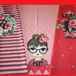 Stenzo Jersey Stoff Panel Digitaldruck Schulmädchen Mädchen rot pink