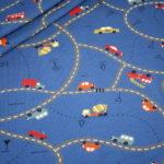 Jersey Stoff Autos Straßen Road Maps blau
