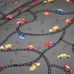 Jersey Stoff Autos Straßen Road Maps grau