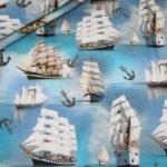 Digitaldruck Jersey Stoff Schiffe Segelschiff