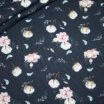 Stenzo Jersey Stoff Digitaldruck Baumwolle Blumen blau