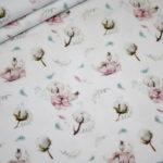 Stenzo Jersey Stoff Digitaldruck Baumwolle Blumen weiß