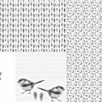 Stenzo Jersey Stoff Panel Digitaldruck Vogel Vögelchen Kissen weiß grau