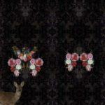 Stenzo Jersey Stoff Panel Digitaldruck schwarz Blumen Reh