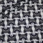 Hilco Jersey Stoff grau schwarz Waschbär