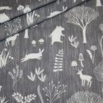 Hilco dünner Sweatshirt Stoff grau weiß Waldtiere