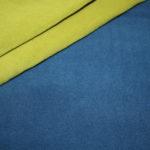 Hilco Doubleface Fleece Stoff jeansblau gelb/grün