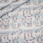 Hilco dünner Sweatshirt Stoff kleine Waldtiere  Fuchs hellblau Streifen