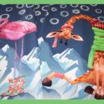 Stenzo Dünner French Terry Jersey Stoff Panel Giraffe Flamingo blau