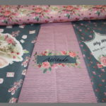 Stenzo Jersey Stoff Panel Digitaldruck Ballett Mädchen rosa grau
