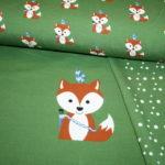 Hilco Jersey Stoff grün Indianer Fuchs Panel