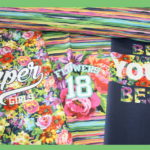 Stenzo Dünner French Terry Jersey Stoff Panel Blumen Super Girl