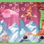 Stenzo Dünner French Terry Jersey Stoff Panel Giraffe Flamingo pink